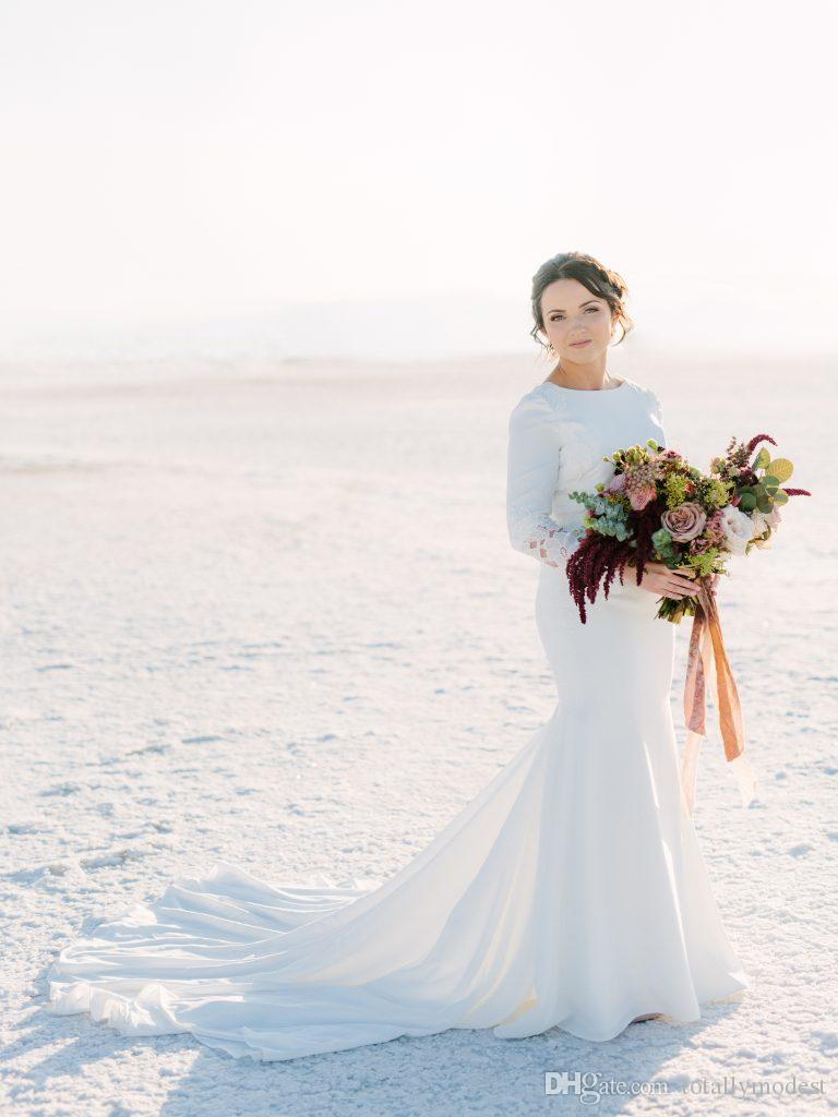 2019 новое поступление шифон скромные свадебные платья с длинными рукавами простые русалки женщины неформальные храмовые свадебные платья