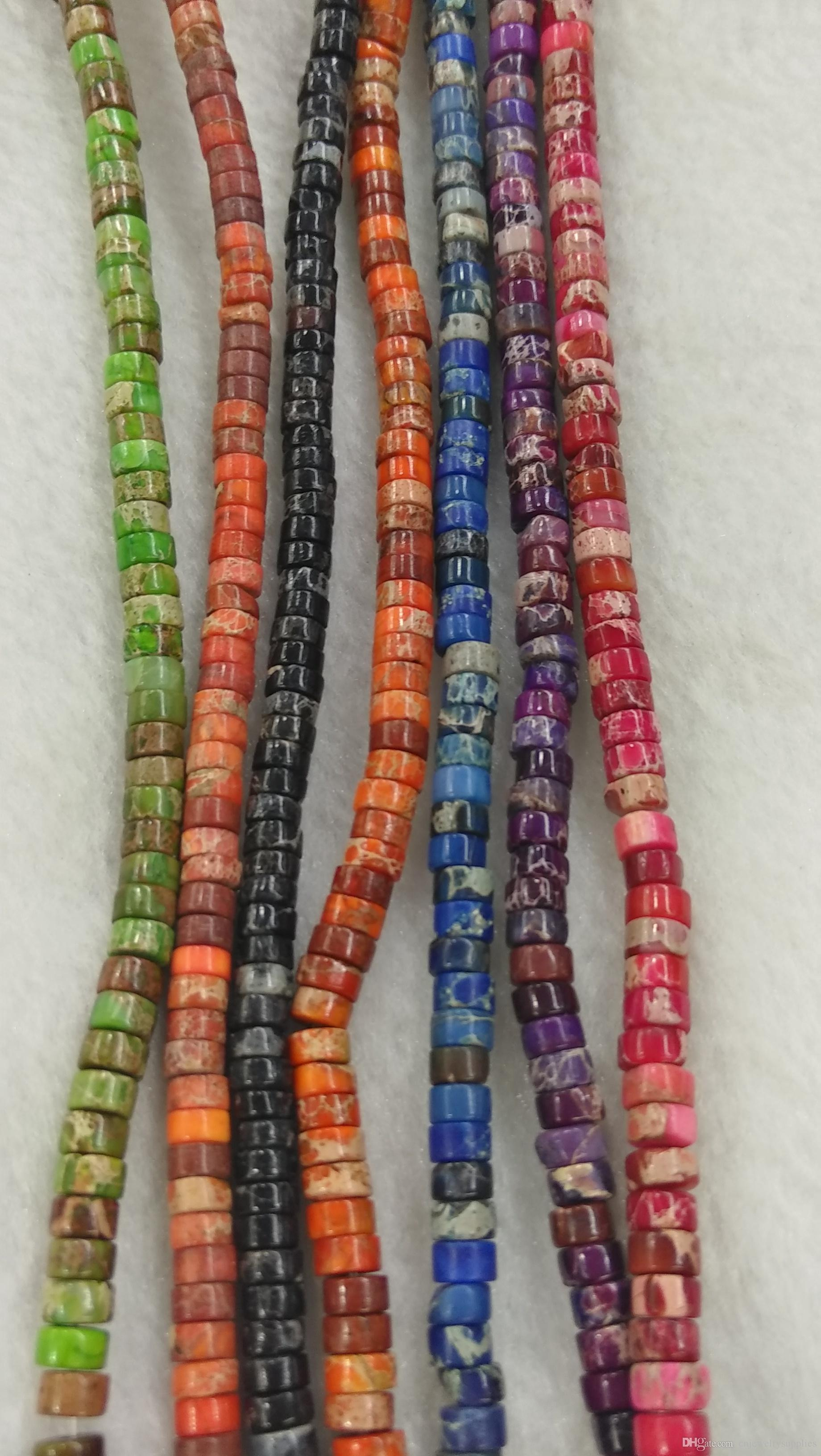 Black Jet Sea Sediment Jasper - Imperial Jasper Heishi rondelle Spacer beads violet purple