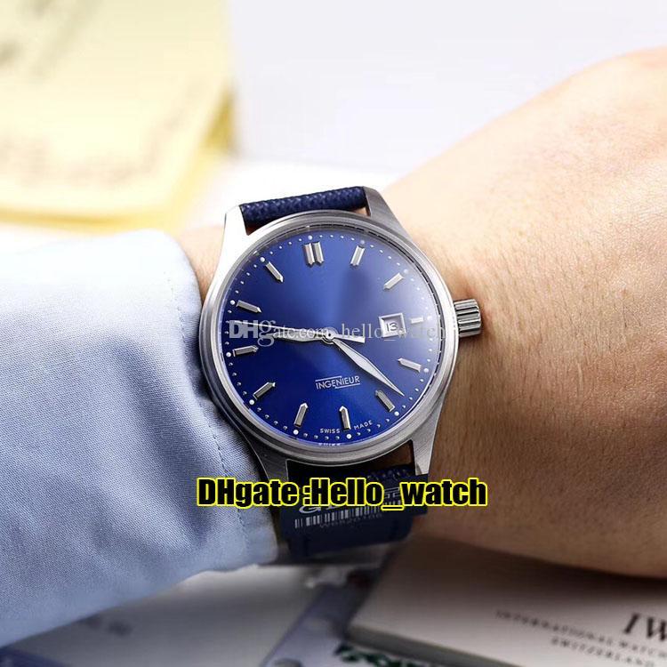 Nuevo Ingenieur Family IW323310 Dial azul Miyota 821A Reloj automático para hombre Caja de acero Relojes de alta calidad de cuero de nylon azul Hello_watch