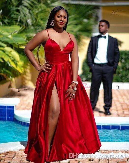 2020 Modest Slit Rote Abendkleider Spaghetti lange Abendkleider afrikanische kundenspezifische schwarze Mädchen formale Kleider gemacht Vestido