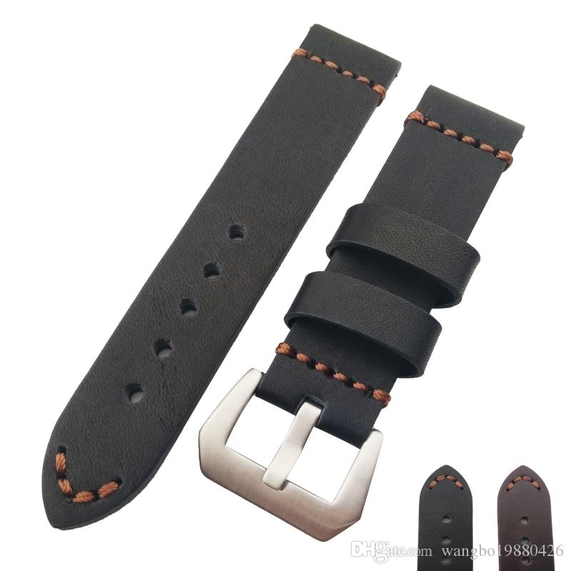 Yeni HQ Hakiki Deri Kalın Siyah Veya Kahverengi Watch Band Kayışı 22mm 24mm 26mm