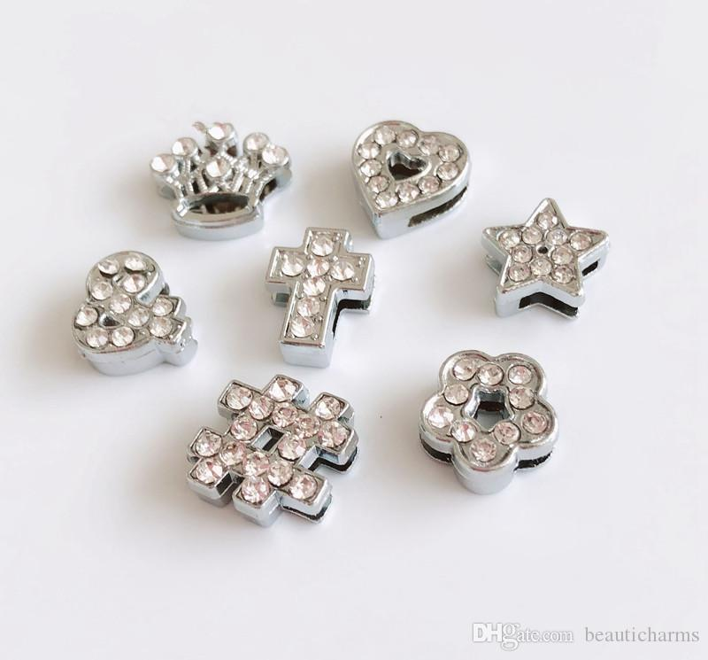 50pcs 8mm Rhinestone pieno stile misto Charms perline Fascino misura 8mm collare cinghie per animali strisce di telefono