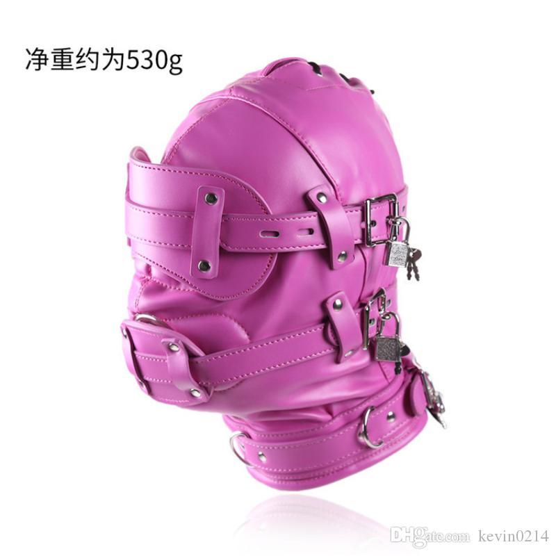 Dispositivo Bondage Cappuccio PU Maschera Cappucci rilegati Contengono il pene Cinture di ritenuta nasali regolabili per couplr J10-69