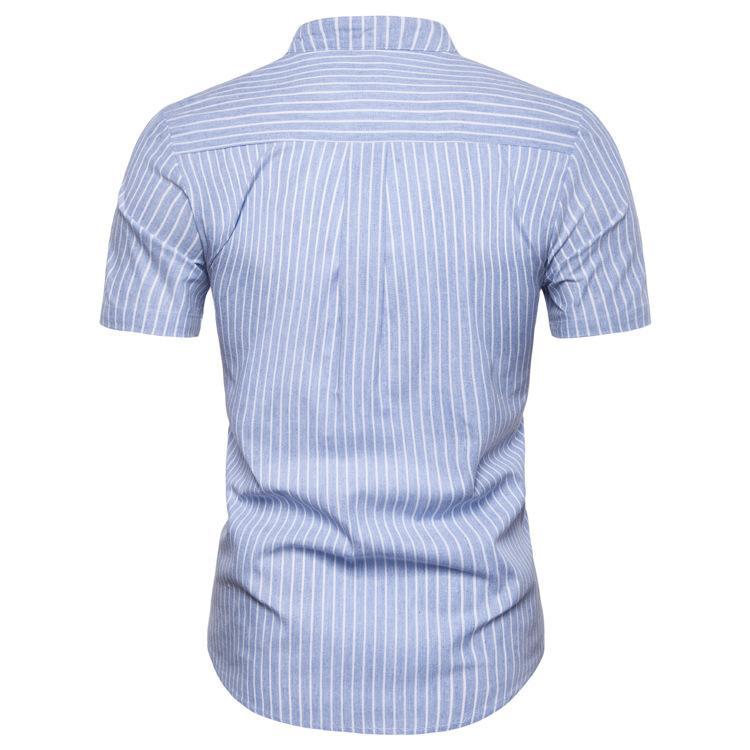 Mavi Adam Gömlek Pamuk İlkbahar Sonbahar Casual Kısa Kollu Gömlek