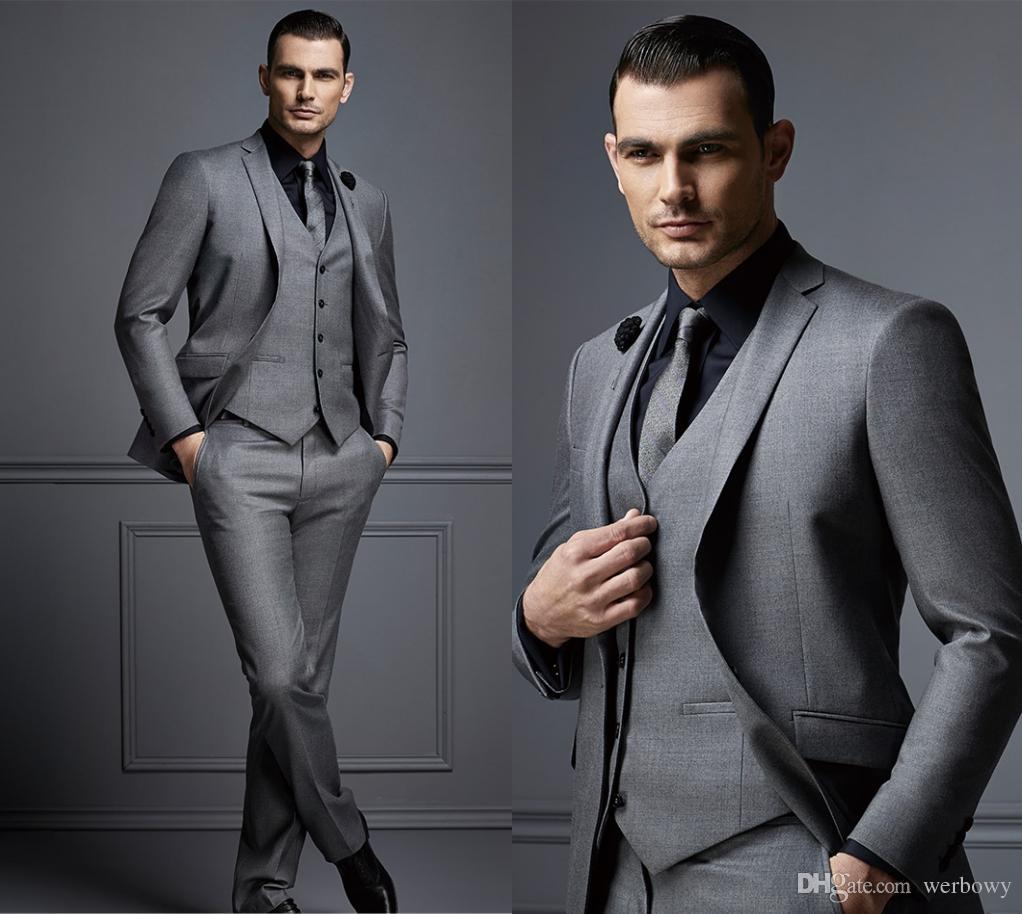 Handsome Dark Grey Mens Suit New Fashion Groom Suit Wedding Suits For Best Men Slim Fit Groom Tuxedos For Man (Jacket+Vest+Pants) HY6004