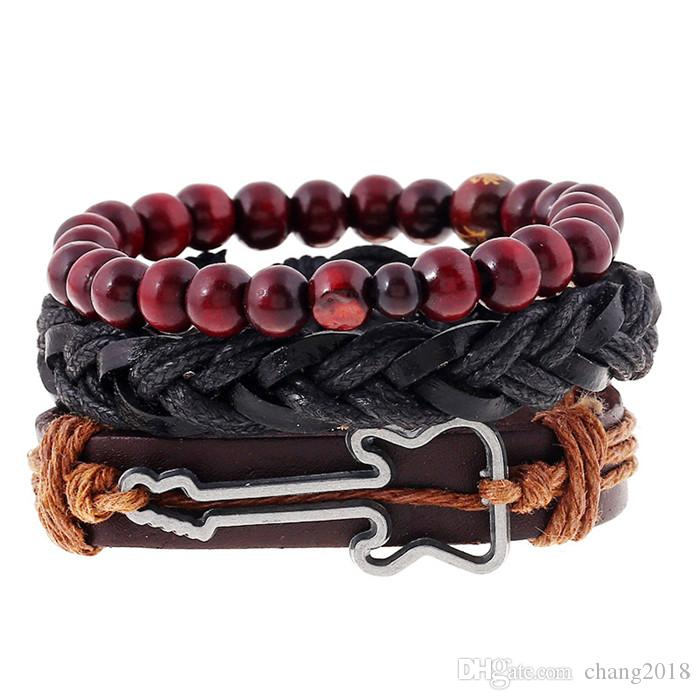 18 styles Vintage Hollow Guitar Leather Bracelet for Women And Men Jewelry Pulseira Masculina Friendship Gift pksp3-4