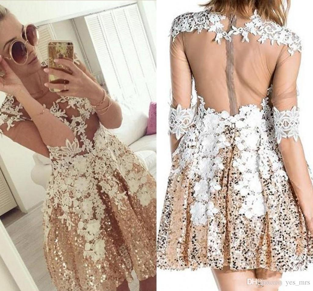 2020 New Cheap Gold Sequined Homecoming Dresses Long sleeves Lace Appliques Illusion Sheer Zipper Back Short Party Graduation Cocktail Gowns
