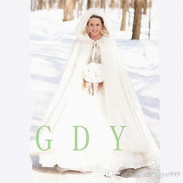 2020 Immagine reale con cappuccio Capo Bridal Capo lunghi Mantelli da sposa Mantelli Faux Pelliccia per inverno Wedding Wraps Wraps Bridal Cloak Plus Size