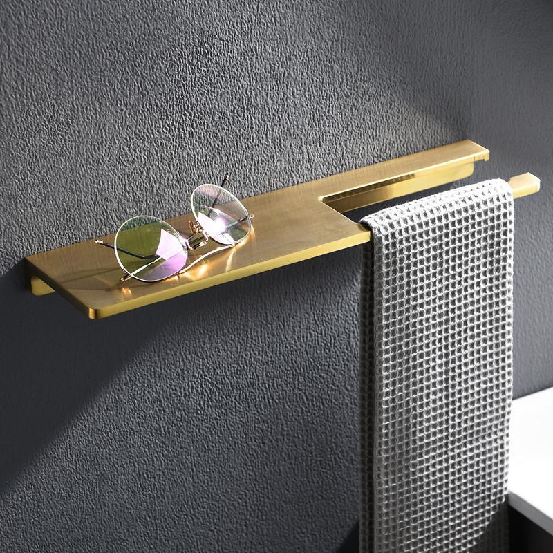 Bathroom Shelf Brass Bath Shower Rack Shower Shelf Bath Holder Bolt Inserting Type Gold Towel Rack Corner Shelf Bath Hardware