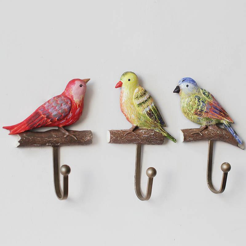 3pcs 3D Bird Resin Craft Coat Hook Creative Decoration Hook Multi-Purpose Garden Wall Hanging Home Decoration Hook Home Storage