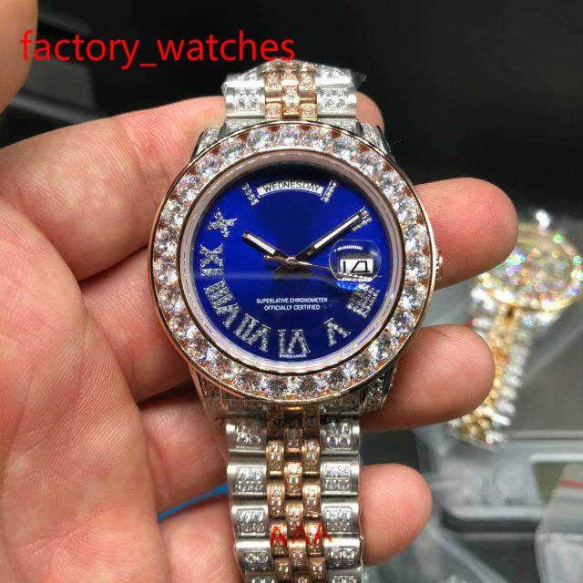 Luxe deux tons rose en or Montre Full Diamond Montre de haute qualité automatique d'hommes Jour Date étanche 40MM montre mécanique