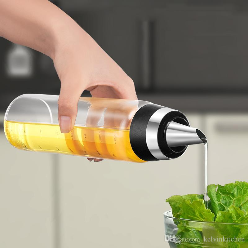 El aceite de oliva de alta calidad Botella de cristal Sin goteo de aceite de cocina Vertedor Aceite de oliva Vinagre de contenedores de medición del canalón de la botella 350ML de 500ML