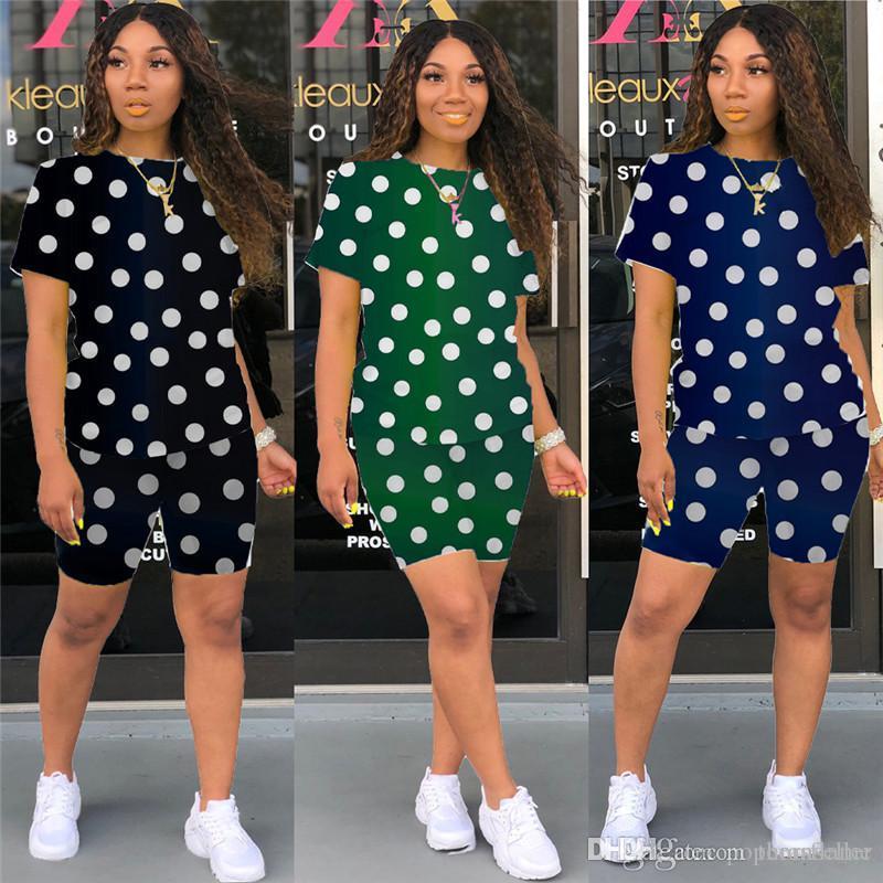 여성 두 조각 의상 패션 폴카 도트 프린트 크루 넥 슬림 운동복 새 스타일 여성 두 조각 세트