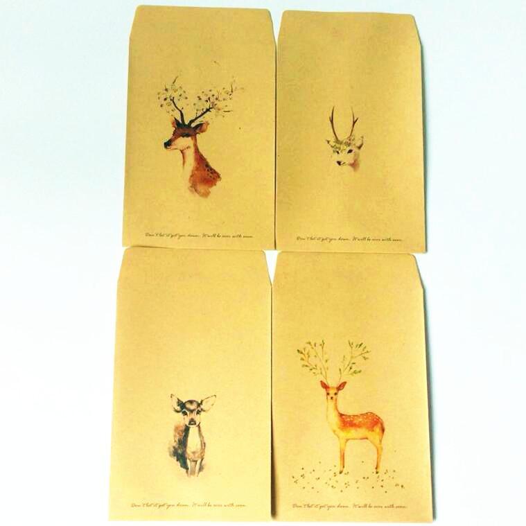 사무실 학교에 대한 10PCS / 많은 귀여운 사슴 시리즈 크래프트 종이 봉투의 편지 종이 봉투 패션 선물 공예 포스트 vitations