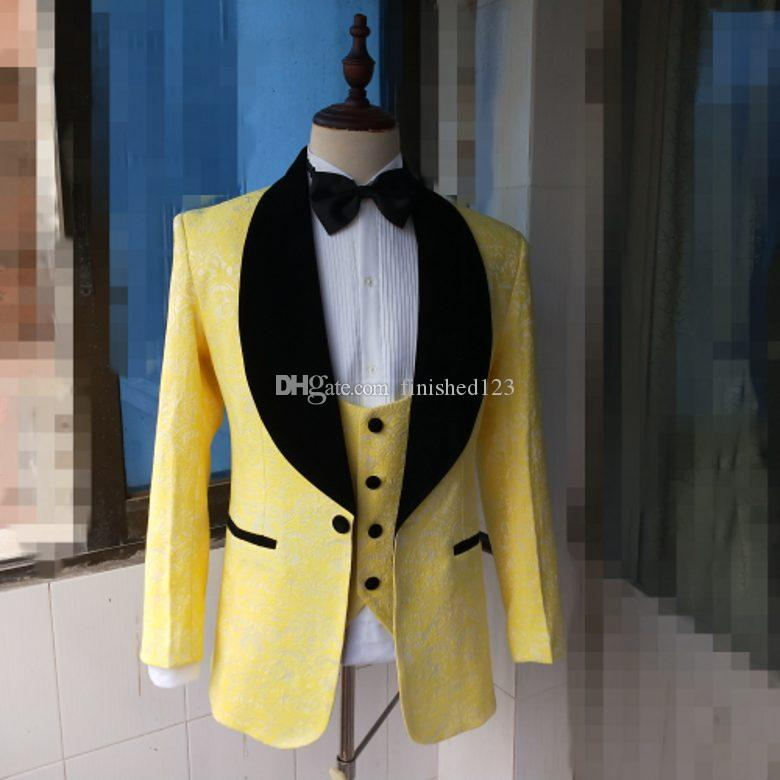 De alta calidad con un solo botón, en relieve, amarillo, esmoquin, chal, solapa, hombres, trajes, boda, baile de graduación, cena, mejor hombre, chaqueta (chaqueta + pantalón + chaleco + corbata) W412