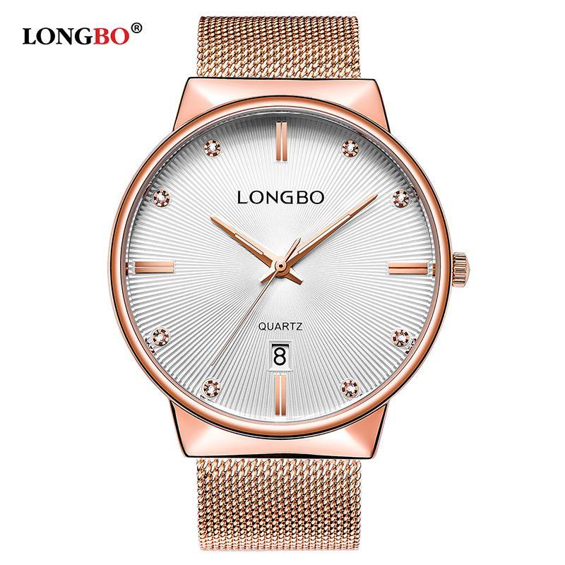 Longbo Luxus Geschäfts Männer Frauen Uhren Luxus Edelstahl Band Männliche Weibliche Quarz Uhr Kalender Paar Armbanduhr Geschenke 5028