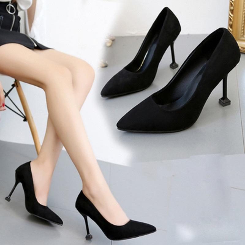 New women/'s shoes elegant classic pumps high heel black suede like casual work