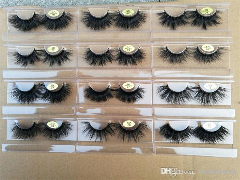 12 Styles 25mm Long Dramatic Mink Lashes 5D Mink Eyelash 5D 25mm Long Thick Mink Lashes Handmade False Eyelash with paper package