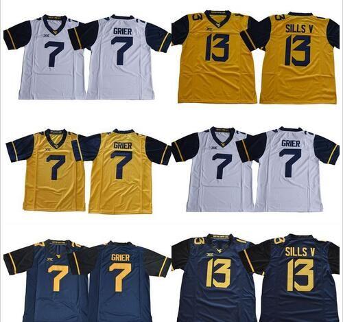 2018 New West Virginia Mountaineers WVU # 7 Will Grier 13 David Sills V Bianco Bianco Blu Giallo cucita XII NCAA College Football Jerseys