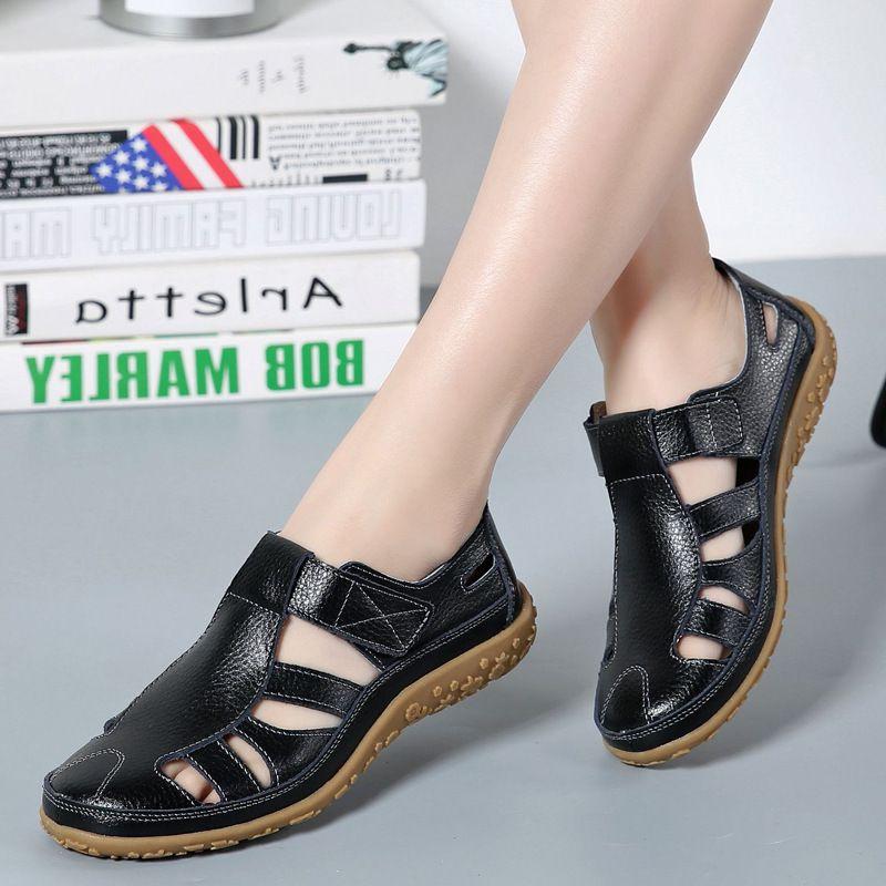 Femmes Sandales Gladiator fendus Chaussures d'été en cuir femme évider Sandales plates Avslappnad Doux Bas Femme Plage Sandal