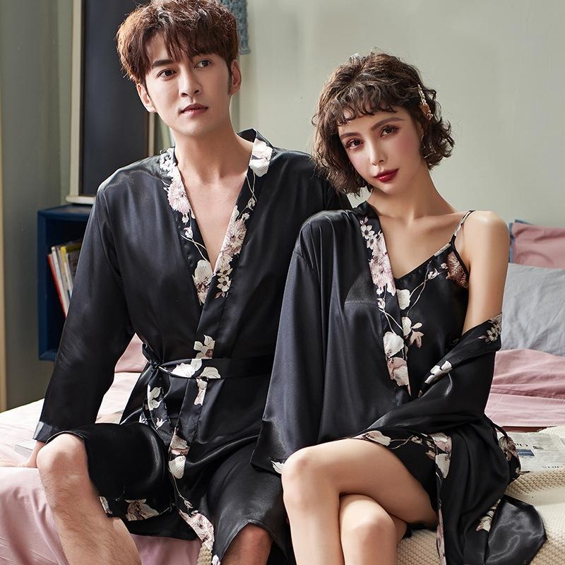 N01qE MXNse Pijama gelo dos homens e em casa roupas de primavera camisola das mulheres pajamasSling estilingue pajamassexy de manga curta terno e verão casal s