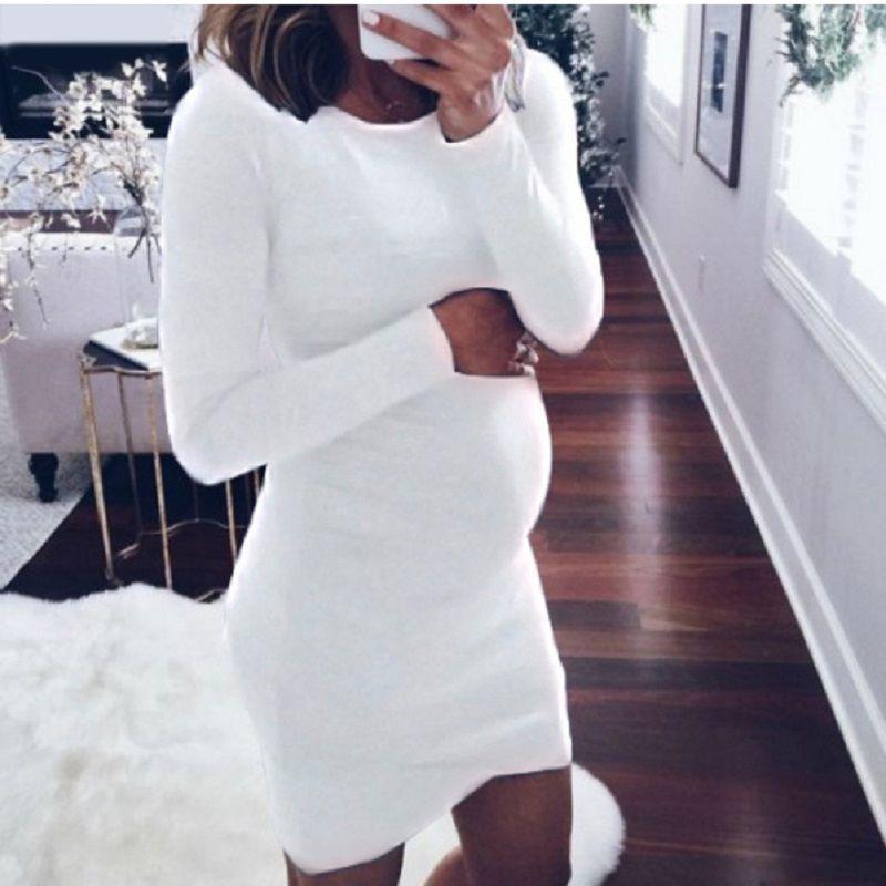 Maternity Pregnant Sheath Dresses Maternity Pregnant Clothes Enceinte Robes Pour Femmes Round Neck Mid Length Solid Women Dresses 43