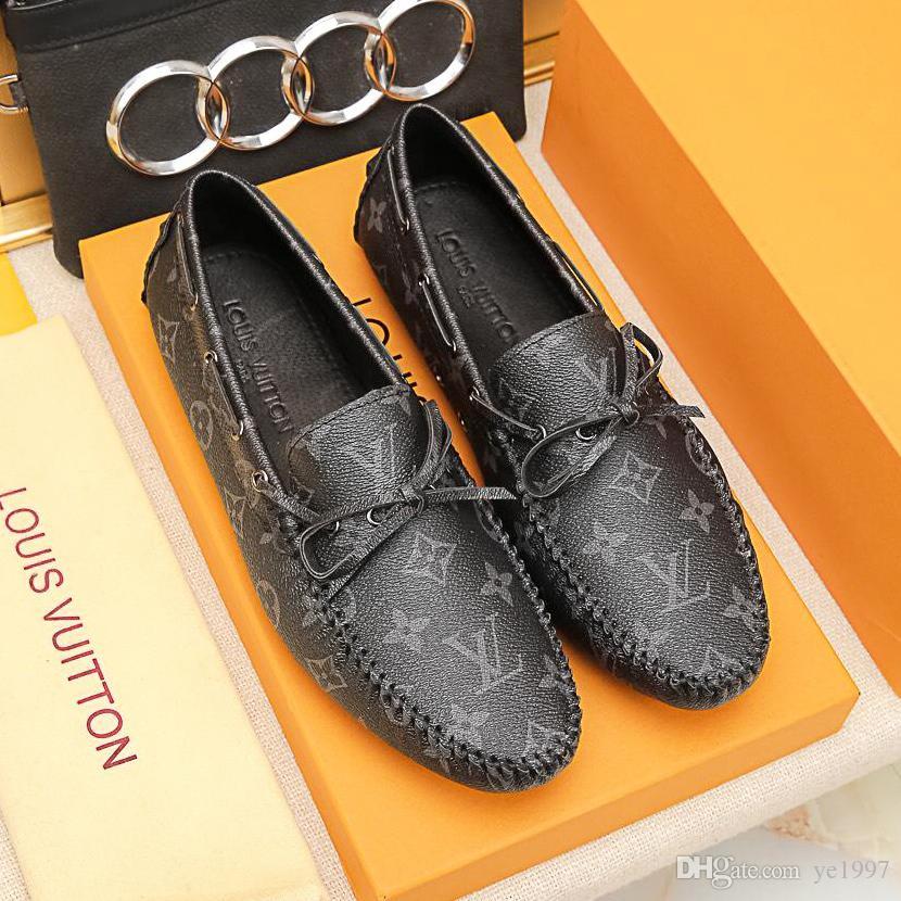 Nouvelle qualité supérieure en cuir pois pois chaussures hommes chaussures paresseux grande taille décontractée bas confortable confort de conduite confortable avec emballage d'origine