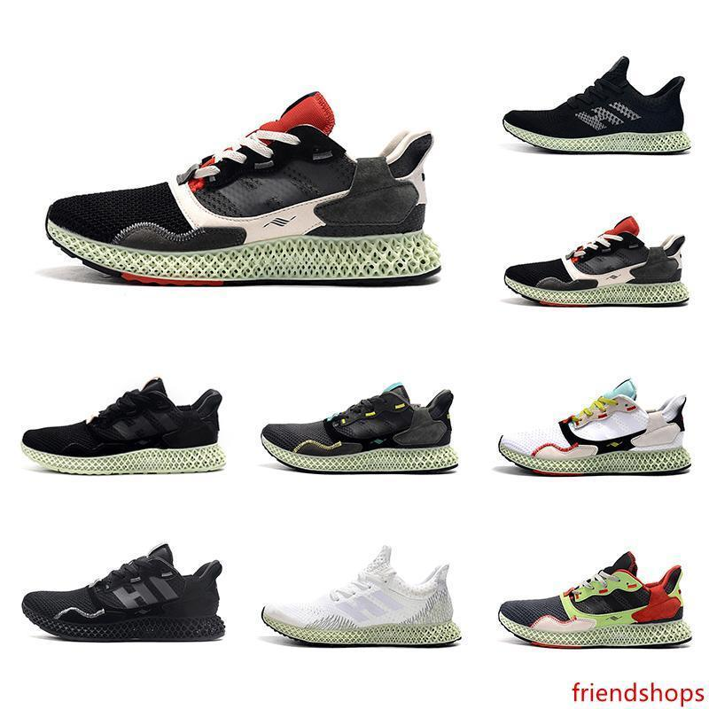 2020 Triplo Carbon Black Ash Green Mens ZX 4000 Futurecraft 4D Running Shoes Formadores por Homens ZX4000 carbono Male Sports instrutor Sneakers