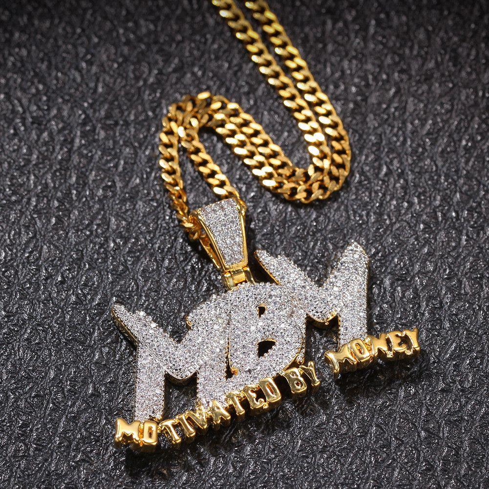 Carta de circón MBM heló hacia fuera el collar pendiente de la joyería para hombre de dos tonos joyería 14K chapado en oro de Bling del diamante de Hip Hop de regalo con 24 pulgadas de Cuba Li