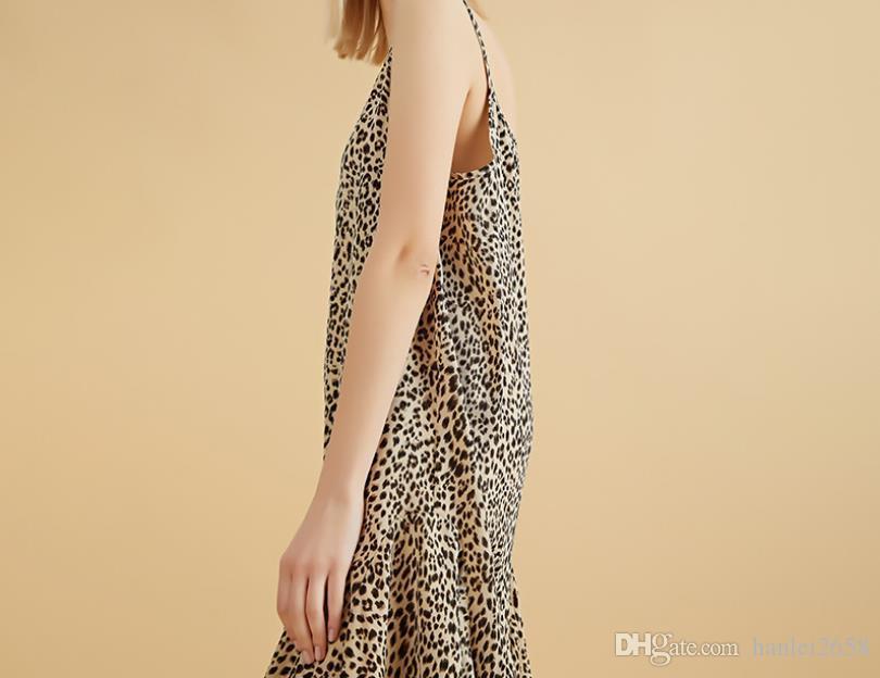 Verão nova saia longa feminino casual leopardo estilingue no longo vestido feminino saia hem hem irregular