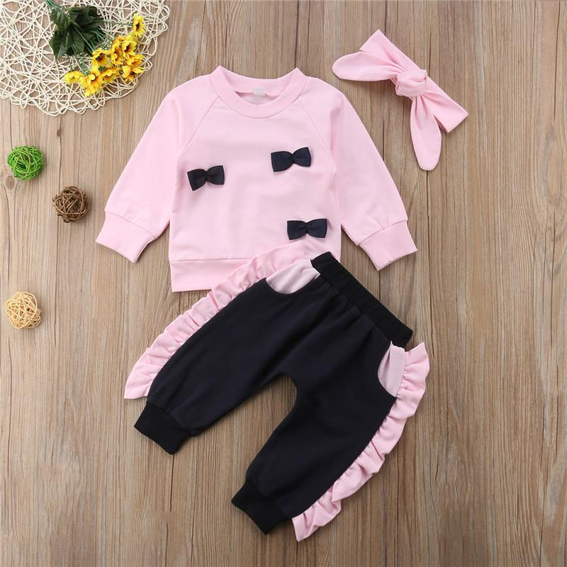 Spring And Autumn New Style Infants GIRL'S Suit Long Sleeve Lace Bow Tops + Trousers + Hair Band 3 Pieces
