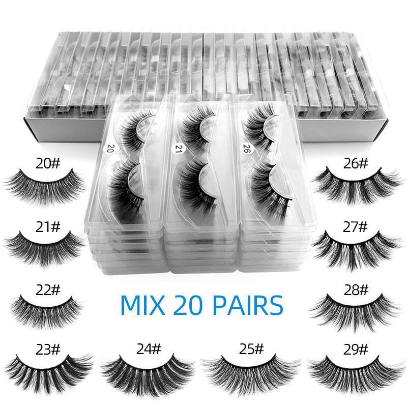 wholesale 3d mink false eyelashes 20~29# fake lashes natural long makeup lash extension in bulk free ship
