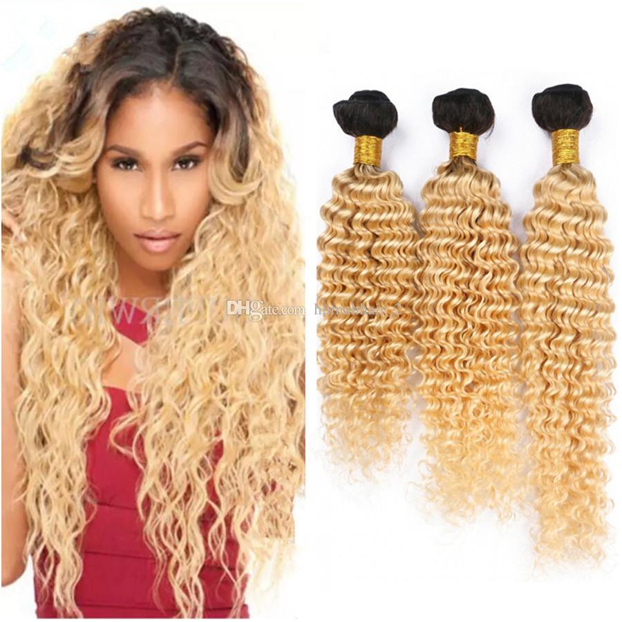 1B 613 Ombre Blonde Bundles De Cheveux Humains Vague Profonde Bundles Brésiliens Dark Roots Platinum Blonde Bouclés Vierges Extensions de Cheveux 3 Pcs Lot