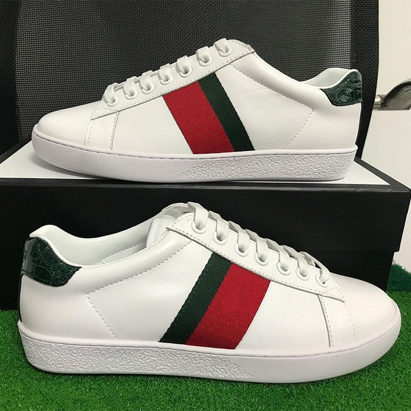 Erkekler Kadınlar Rahat Ayakkabılar Tasarımcı Sneakers Yeşil Kırmızı Çizgili Sneakers Moda Ayakkabı Ile En Kaliteli Hakiki Deri Kutusu Ile