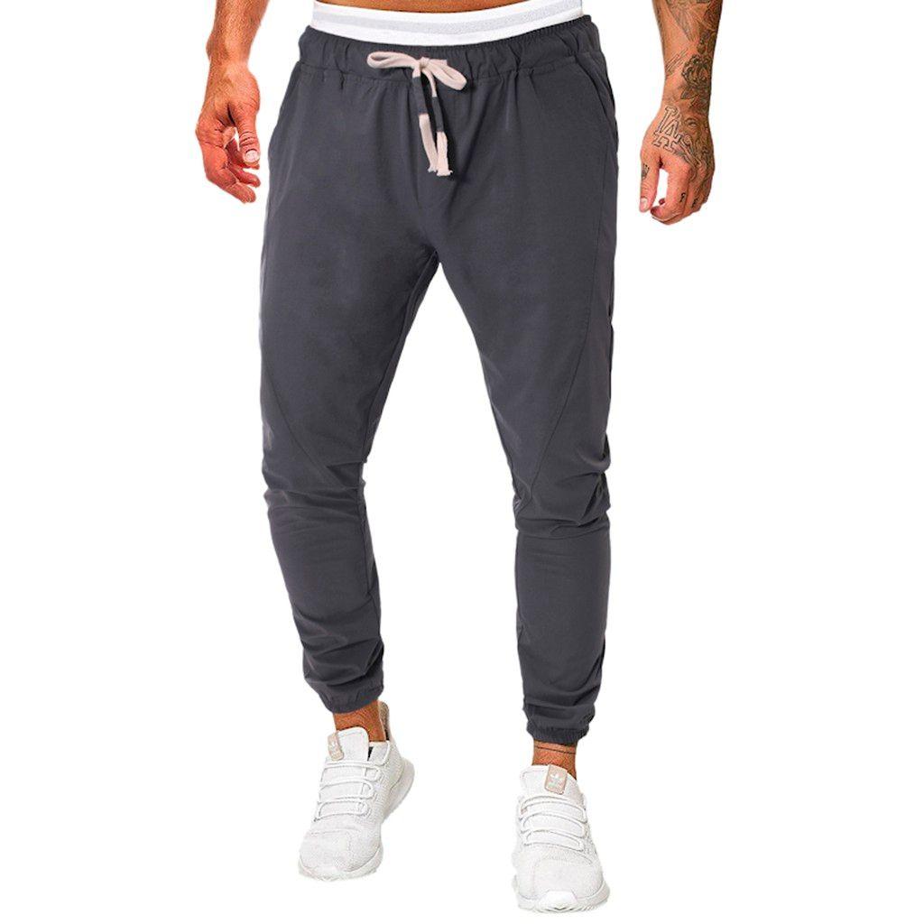 calças Corredores dos homens cor sólida longas Slim Fit Sweatpants causais Calças completa Vestuário Comprimento a camisola Calças de alta qualidade