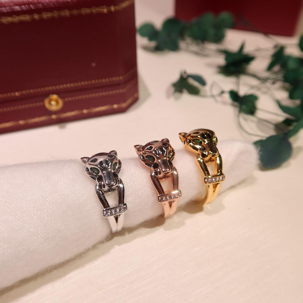 Hot Selling Brand S925 Plateado Plateado Gane Glue Leopard Ring, patrón de leopardo con incrustaciones de circón, moda, temperamento de lujo, pareja anillo