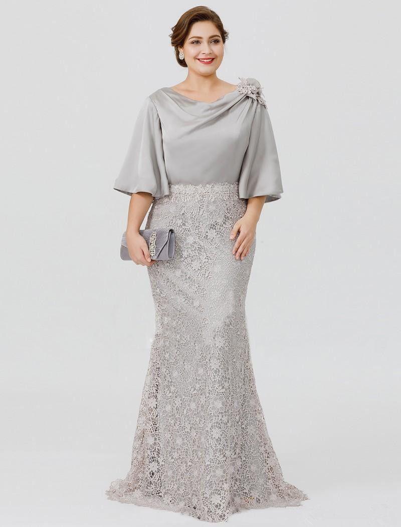 Gray Lace Plus Size Mother of the Bride Dresses 2019 New Custom Floor Length Half Sleeve Mermaid Mother of Bride Groom Dresses M58