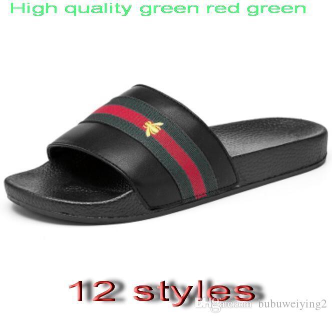 العلامة التجارية مصمم النعال ، أخضر أحمر أخضر الشريط فليب يتخبط الصنادل مصمم ، الشرائح مصمم ، أحذية مصمم ، رجالي شاطئ النعال G7.20