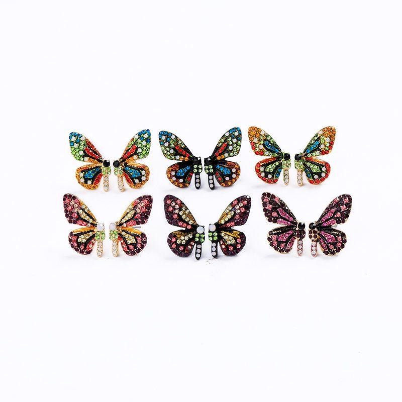 ewelry аксессуары Kissme Два типа Luxury Six-тон Кристалл бабочка Stud EarringsEar крюк для ювелирных изделий женщин Подвески Серьги моды ...