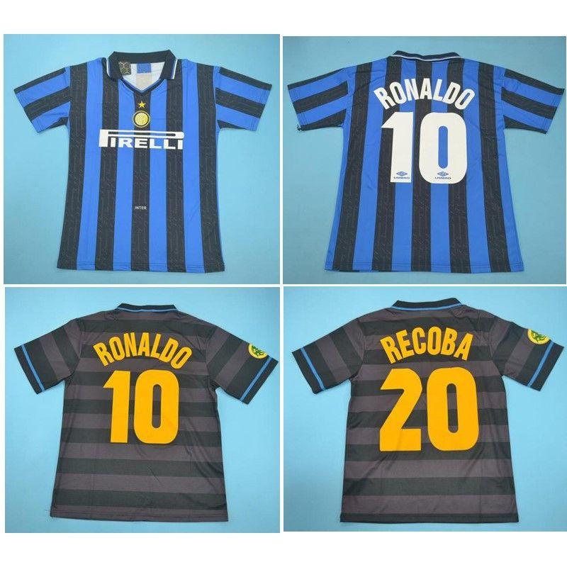 Top 97 98 RONALDO de football Retro Baggio Recoba Maillot de football 1997 1998 Jersey Djorkaeff J.Zanetti classique de pied maillot manches courtes