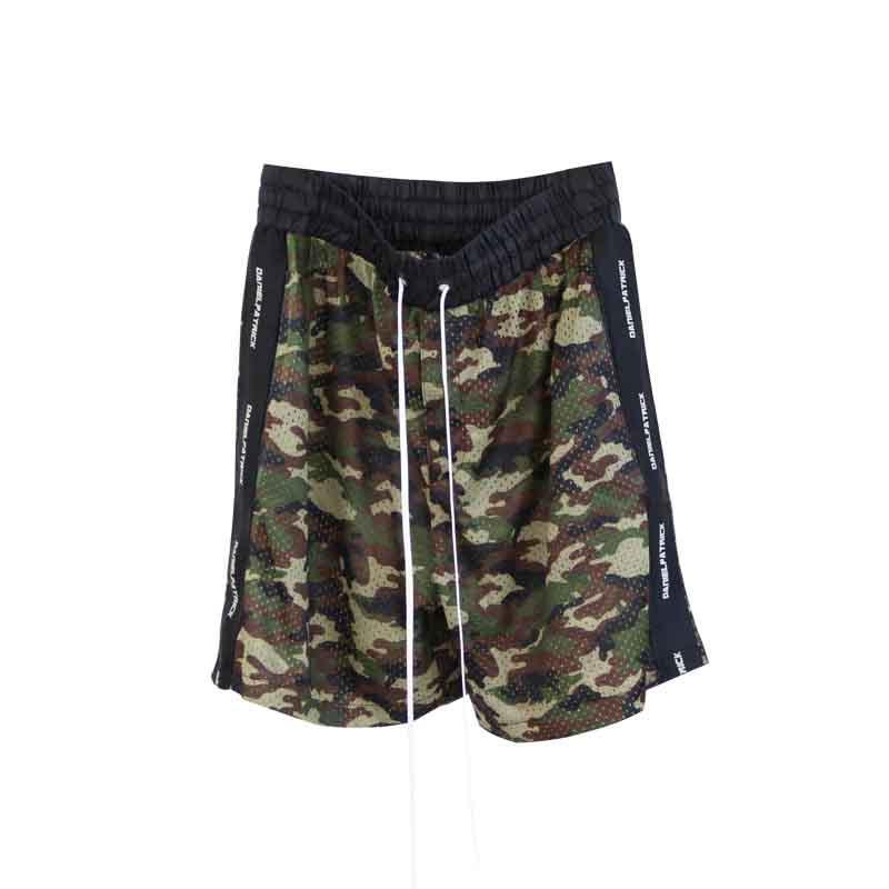 Mens Verão Shorts Pants Patrick Camouflage Ribbon malha Shorts Casual Moda Drawstring Calções de corrida de Fitness High Street