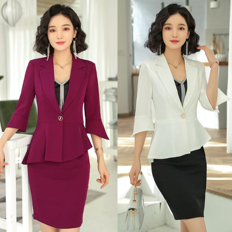 New 2020 Fashion Skirt Suits for Women Business Suits Blazer and Jacket Sets Work Wear Clothes