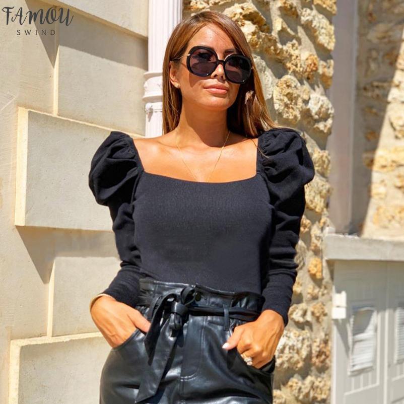 النساء أزياء الخريف قميص الصلبة النفخة ساحة كم الياقة سليم بلوزات بلايز أزياء السيدات عارية البطن الكبس القمصان