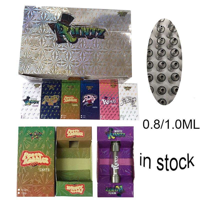 9 srtains Runtz Vape Cartuchos Embalagem 0.8ml 1.0ml Atomizers Cerâmica Bobina Carrinhos de Óleo grossa Vapores Vapores Vaporizador Cigarros Eletrônicos