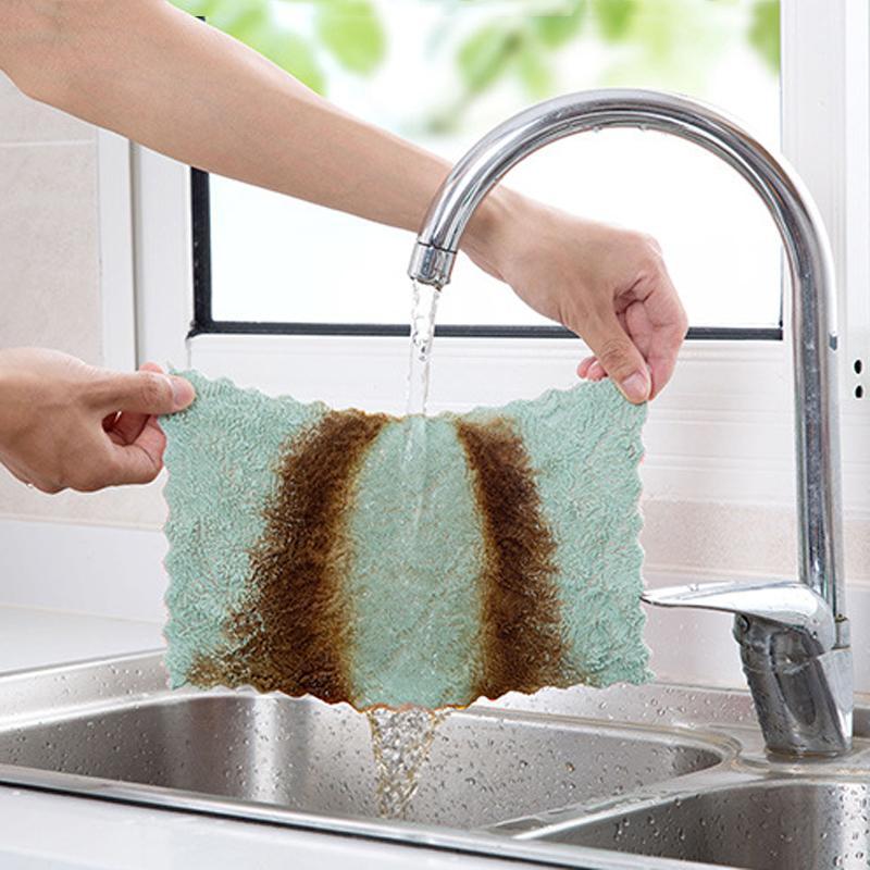 امتصاص الماء مكافحة الشحوم صحن القماش ستوكات اللون غسل منشفة ماجيك مطبخ تنظيف المسح الخرق صحن تنظيف الملابس DBC DH1022