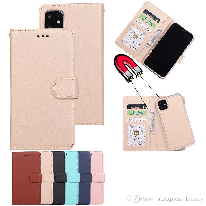 2 W 1 Magnetyczne Portfel Skórzany Retro Case Slot Slot Pokrywa dla iPhone 11 Pro Max XS XR X 8 7 6 Plus Samsung Galaxy S10 E S9 Uwaga 10