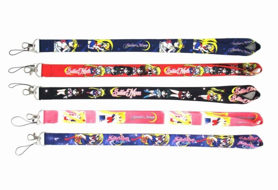 New 10 Pcs Sailor Moon Top Quality Universal Mobile Phone Strap Anime Cartoon Key Chain Neck Lanyard Badge Holder Strap K023