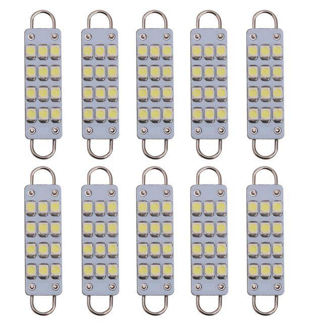 10 adet 44mm Festoon LED Sert Döngü 12 V LED 12 Cips 3528SMD Ampuller 561 578 Araba Festoon Işık Oto İç Dome Işık Lambaları Beyaz