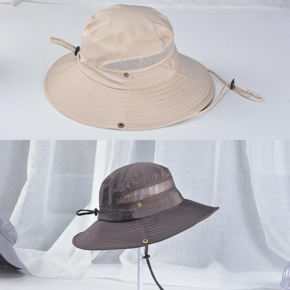 Fashion Men Summer Outdoor Fishing Sunshade Hat Wide Brim UV Protection Caps