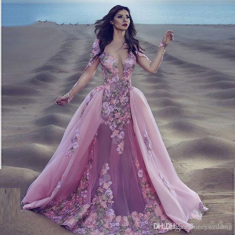 Seksi Pembe Dantel Uzun Kollu Mermaid Gala Gelinlik Ayrılabilir Çıkarılabilir Etek Hint Gelin Elbiseler Uzun Kollu Gelinlik